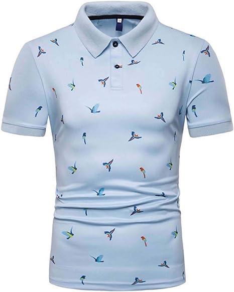 TMBDYE Camisa Polo de Manga Corta para Hombre 2019 Nueva impresión de Moda Manga Corta Suelta elástica Solapa Camiseta tamaño M-3XL,Skyblue,L: Amazon.es: Deportes y aire libre