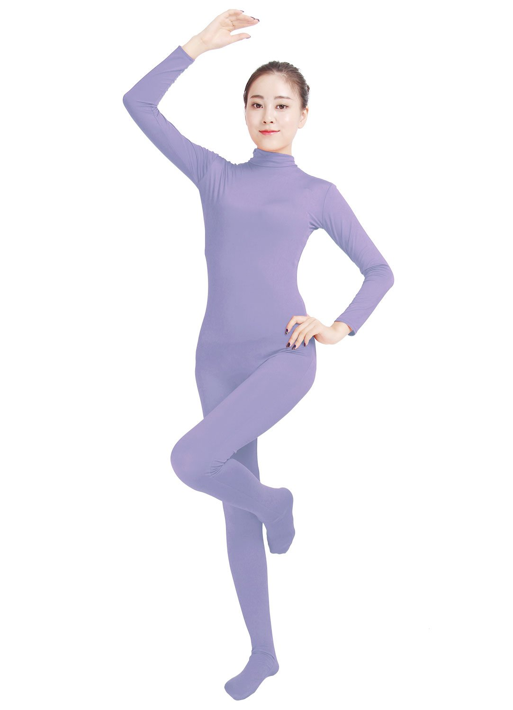 Ensnovo Womens Lycra Spandex Zentai Suits One Piece Footed Unitard LPurple,M by Ensnovo