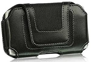 Cerhinu Horizontal Slide In Leather Case With Clip And Small Flap Closure For HTC One S Black With Fabric Accents