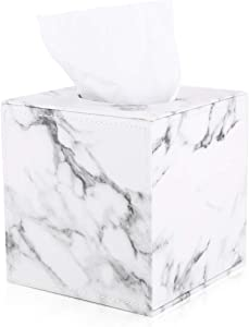 KINGFOM PU Leather Square Roll Tissue Box Holder Cover Napkin Paper Box Case Tray Pumping for Home Office Car (Gray Marble Pattern)