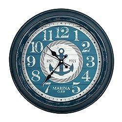 Ashton Sutton CX1462 Round Quartz Analog Metal Aged Wall Clock with Nautical Dial, 16-Inch, Blue