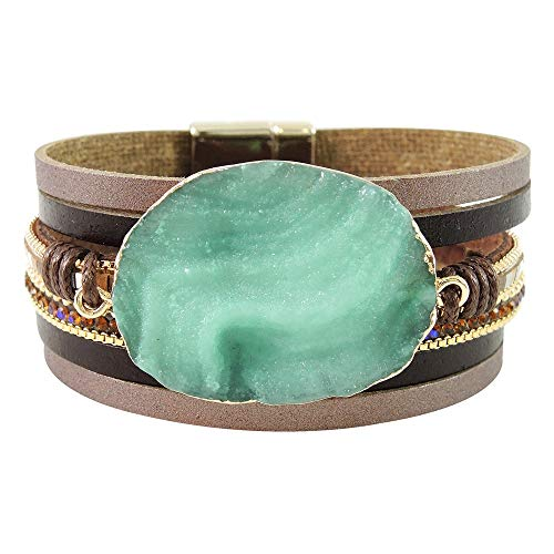 Turquoise Network Wrap Bracelets for Women Gemstone Style Faux Leather (Green)