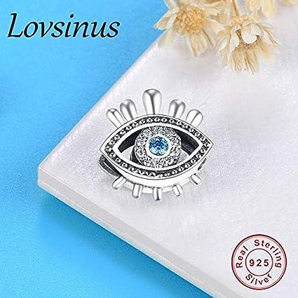 a524df1d6 Ochoos Fits Original Pandora Charms Bracelet 925 Sterling Silver Evil Eyes  Charm Clear Blue Eyes CZ