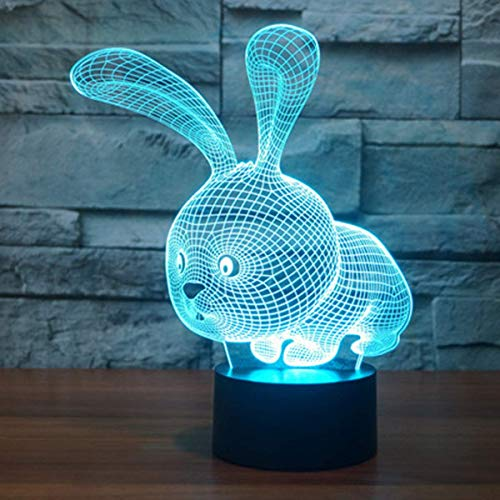 (YEXIN 3D LED Optical Illusion Lamps Night Light7 Colors Touch Art Sculpture Lights with USB Cables Bedroom Desk Table Decoration Lamp for Kids Adults Animal Rabbit)