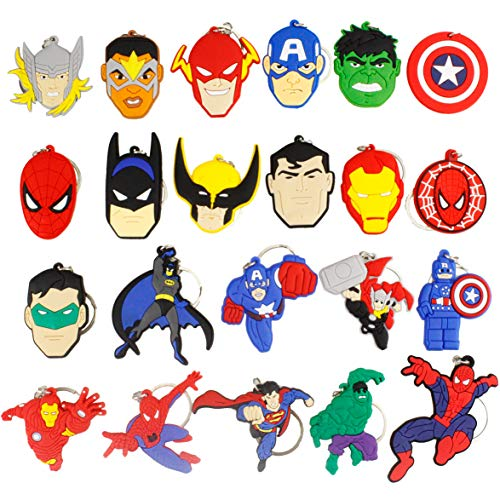 Melleco 22pcs Keychain Key Ring Superhero Theme Goodie Bag Stuffer Christmas Gift Holiday Charms for Kids Children Birthday Party Favors School Carnival Reward Prizes Decoration Collectible -