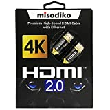misodiko Premium High Speed HDMI 2.0 Cable for New 4k Ultra HD Televisions - Professional Series (6 Feet)