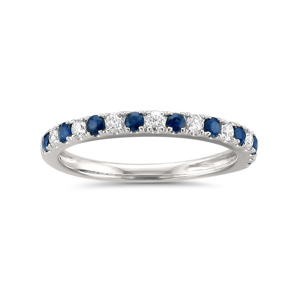14k White Gold Round Diamond & Blue Sapphire Bridal Wedding Band Ring (1/2 cttw, H-I, VS2-SI1), Size 6.5