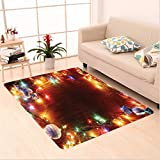 Nalahome Custom carpet ction Fairy Lights Image on Wooden Rustic Pine with Xmas Ornaments and Candy Lollies Multi Color area rugs for Living Dining Room Bedroom Hallway Office Carpet (2' X 10')