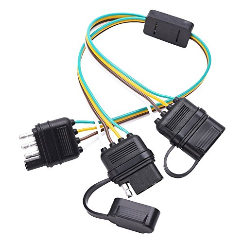 QUNQI STAR Trailer Wire Harness - 4 Pin 4 Way Flat Y-Splitter Adapter Trailer Harness with CAPS for LED Tailgate Light Bar and Trailer Lights - Plug & Play