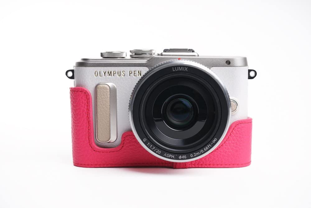 EPL8 Case Yellow BolinUS Handmade Genuine Leather Colorful Half Camera Bag Case for Mirrorless Olympus PEN E-PL8