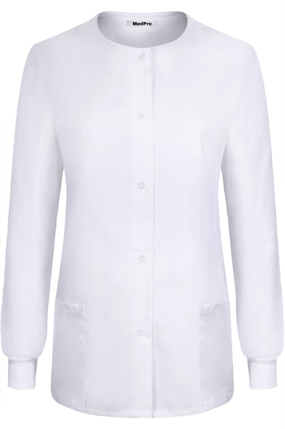MedPro Women's Medical Scrub Button Down Jacket w/Patch Pocket White L