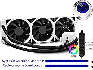 DEEPCOOL CAPTAIN 360EX RGB WHITE, AIO Liquid CPU Cooler, Synchronous RGB Waterblock and 2 LED Strips Controlled by Cable Controller or Software, 3×120mm PWM Fans, AM4 Compatible, 3-year Warranty