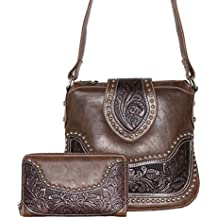 Concealed Carry Tooled Messenger Purse and Wallet - Concealment Weapon Gun Bag - Tooled Crossbody Bag with Matching Wallet by Montana West