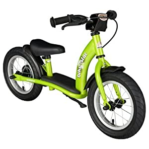 BIKESTAR® Original Safety Lightweight Kids First Balance Running Bike with brakes and with air tires for age 3 year old boys and girls | 12 Inch Classic Edition | Brilliant Green
