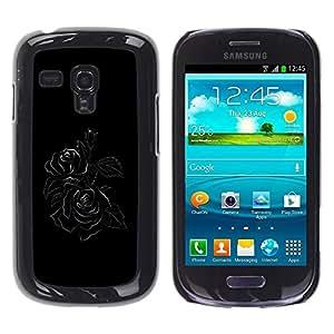 Be Good Phone Accessory // Dura Cáscara cubierta Protectora Caso Carcasa Funda de Protección para Samsung Galaxy S3 MINI NOT REGULAR! I8190 I8190N // Black Minimalist Rose Floral