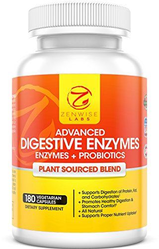 Digestive Enzymes With Prebiotics & Probiotics - Natural Gluten Free Support - For Better Digestion & Lactose Absorption - For Bloating & Gas Relief + Helps IBS & Leaky Gut - 180 Vegan Capsules