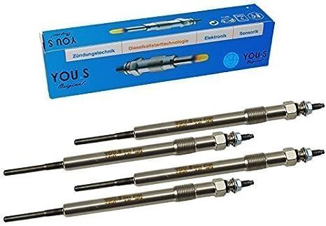 4 Pi/èce YOU.S Original 1717631 Bougies de Pr/échauffage Longueur 149 mm Tension 4.4 V