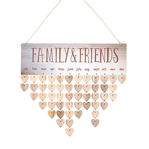 Beautyrain Reminder Board Colgante Calendarios Colgantes Familiar Amigos Adorno Creativo Retro Madera Color Craft DIY Regalo