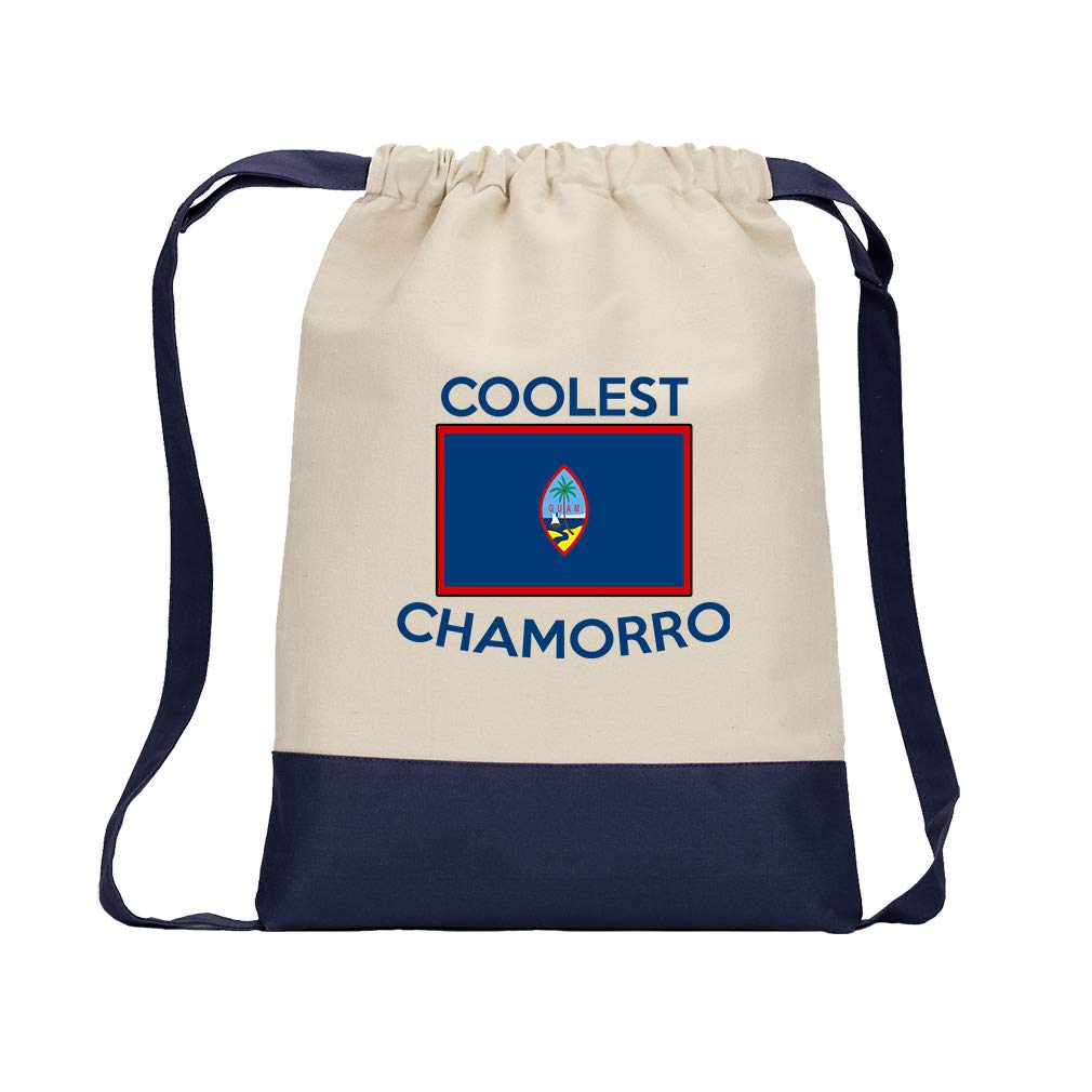 Coolest Guam, Chamorro Cotton Canvas Color Drawstring Bag Backpack - Navy