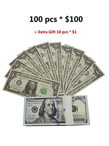 Motion Picture Prop Full Print 2 Sided Copy of 100 pcs $100 Stack, for Movie,Videos,Teaching and Birthday Party
