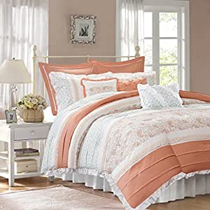 Madison Park - Dawn 9-Piece Cotton Percale Comforter Set - Coral - King - Shabby Chic, Ruched & Paisley Design - Includes 1 Comforter, 1 Bedskirt, 2 King Shams, 2 Euro Shams, 3 Decorative Pillows