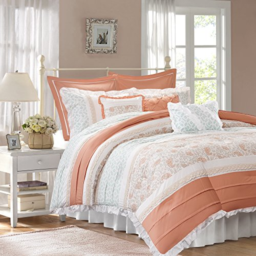 Madison Park - Dawn 9-Piece Cotton Percale Comforter Set - Coral - Queen- Shabby Chic, Ruched & Paisley Design - Includes 1 Comforter, 1 Bedskirt, 2 Standard Shams, 2 Euro Shams, 3 Decorative Pillows (Paisley Queen Comforter)