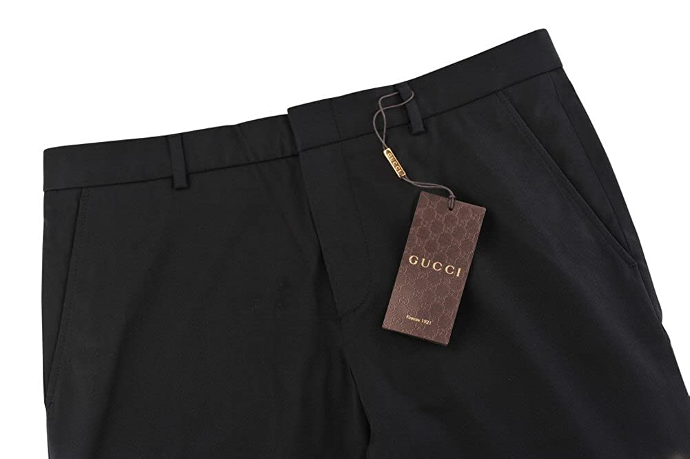 Gucci Pantalón Hombre 46 Negro Algodón Normal Corte Recto: Amazon.es: Ropa y accesorios