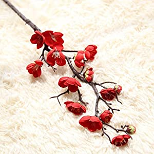 LtrottedJ Artificial Silk Fake Flowers, Plum Blossom Floral Wedding Bouquet Party Decor (Red) 72
