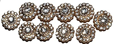 The Buckle Boutique Round Circle of Rhinestones Brooch Buckle Gold (10 Pieces)