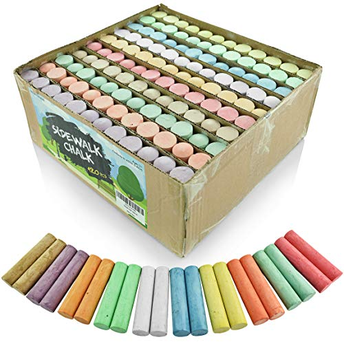 Fat Zebra Designs Sidewalk Chalk Set - Pack of 120 Multi-Color Jumbo Street Chalks - 10 Bright & Cheerful Colors - Nontoxic, Washable Tapered Chalks for Teachers and Schools - 1 x 4 Inches ()