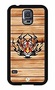 iZERCASE Samsung Galaxy S5 Case Tiger on Wood Pattern RUBBER - Fits Samsung Galaxy S5 T-Mobile, AT&T, Sprint, Verizon and International