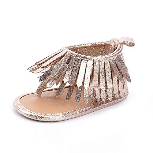 LIVEBOX Infant Baby Girls Moccasins Tassels Premium Soft Sole Anti-Slip Summer Prewalker Toddler Sandals (M: 6~12 months, Golden)