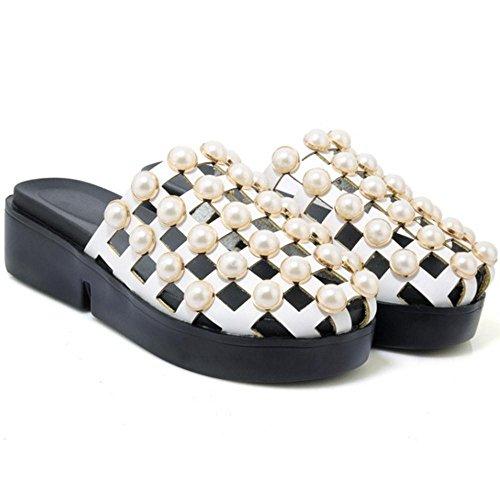 Pantofole Zeppa TAOFFEN Donna Scarpe White gEwxq6px