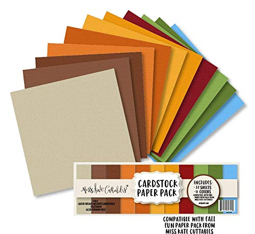 (Cardstock Paper Pack - Fall Days - 32 Sheets Solid Core Textured Card Stock - Custom Colors Matched for Our Designs - Card Making Crafting Scrapbook - by Miss Kate)
