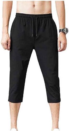 Kankanluck Mens Thin Half Pants Loose-Fit 3/4 Pants Breathable Summer Pants