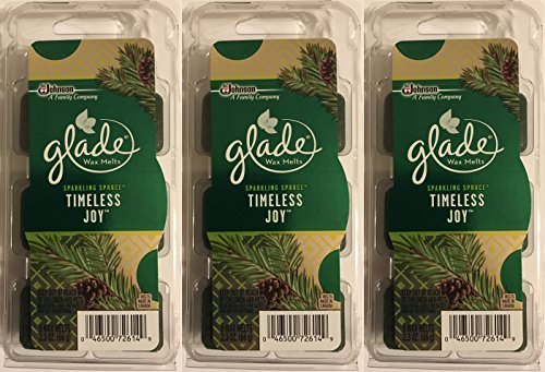Glade Wax Melts Air Freshener - Holiday Collection 2016 - Sparkling Spruce - Timeless Joy - Net Wt. 2.3 OZ (66 g) Per Package - Pack of -