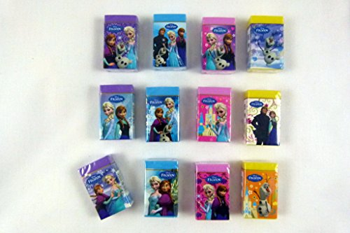 party bag Pack of 12 colour Frozen Themed Erasers (12 - Erasers 12 Piece