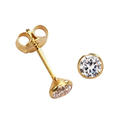 Damen Herren Kinder Ohrringe Ohrstecker 4mm mit Zirkonia Gold 585 14Kt klein rund