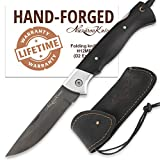 Folding Pocket Knife - Pocket Knife - D2 Steel - Hornbeam Handle - WOLF - Leather Sheath
