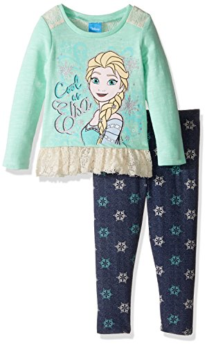 [Disney Little Girls' Toddler Frozen Legging Set with Fashion Hacci Top, Mint, 2T] (Frozen Outfit For Toddlers)