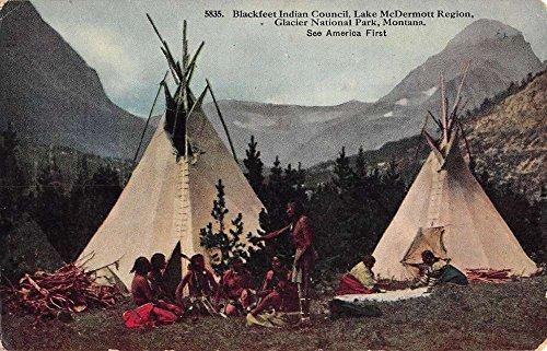 Teepee Postcard (Glacier National Park Montana Lake McDermott Teepee Antique Postcard K85554)