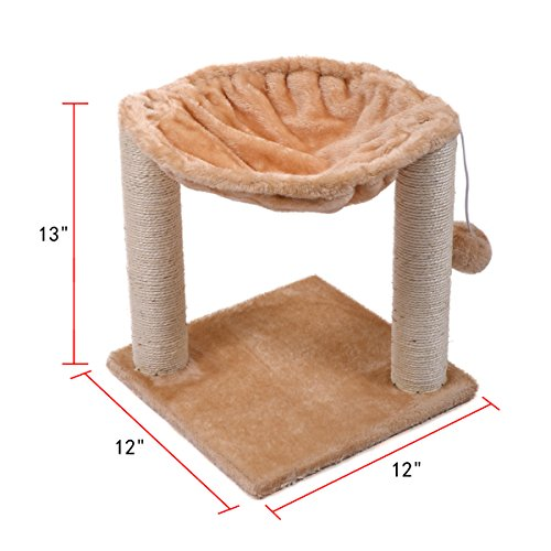 JAXPETY-12x12x13-Cat-Tree-House-wScartching-Post-Tower-Hammock-Bed-and-Pet-Toy-Ball-Multi-2-Level-Beige