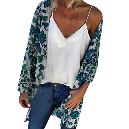 WOCACHI Womens Kimono Cardigan, Women Fashion Loose Summer Floral Print Long Sleeved Cover Up Tops Newest Arrival Beach Wear Party Swimwear Sunscreen Sunproof Sun Protection Smock