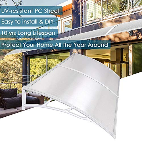 "Yescom 79x40"" Outdoor Door Window Awning Canopy 2 Whole Hollow Polycarbonate Sheets Patio Cover"