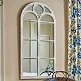 "Shabby Chic Distressed White Wood Window Mirror with Arched Top, 47.25"" High"