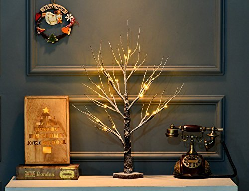 Bolylight LED Snow Dusted Night Light Table Tree Lamp Jewelry Holder Centerpiece 23.62 inch 24L Great Decor for Home/Christmas/Party/Festival/Wedding, Warm White, Snow