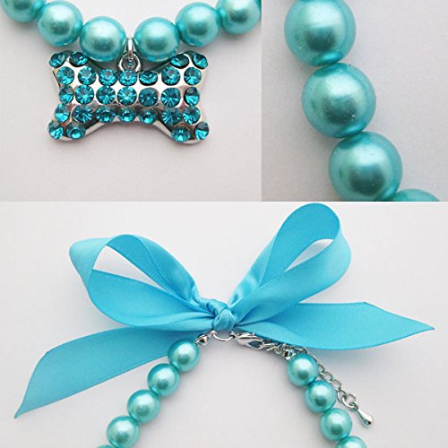 PETFAVORITES Fancy Pearls Crystal Dog Necklace Jewelry with Bling Rhinestones Big Bone Charm for Pets Cats Small Dogs Girl Teacup Chihuahua Yorkie Clothes Costume Outfits (Blue, Neck Size: 12''-14'')