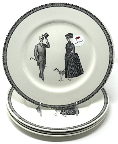 Halloween Victorian Skelton Couple and Bones the Dog Porcelain Made in England Four (4)-Piece Dinner Plate (Scary Halloween Fruit Platter)