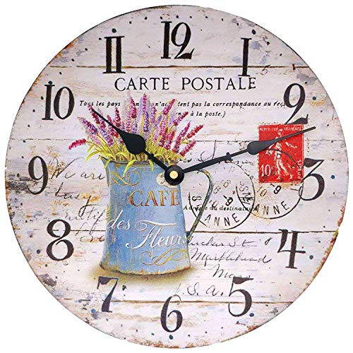 HUABEI Wood Clock French Country Rustic Flower Vase Wall Clock 12 Inch Roman Numerals Vintage Large Decorative No-ticking Silent Round