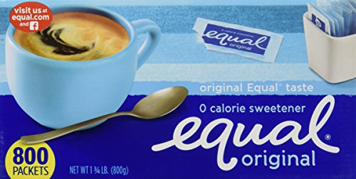 Equal Zero Calorie Sweetener, 800-Count Single-Serve Packets 1-3/4lb Sugar Sweetener